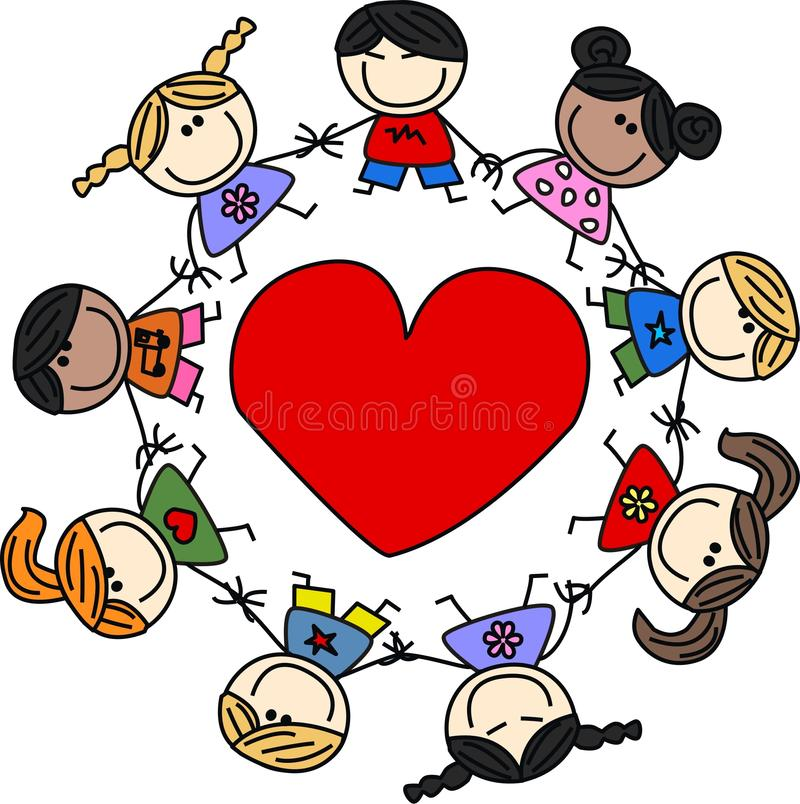 Mixed ethnic happy children royalty free illustration