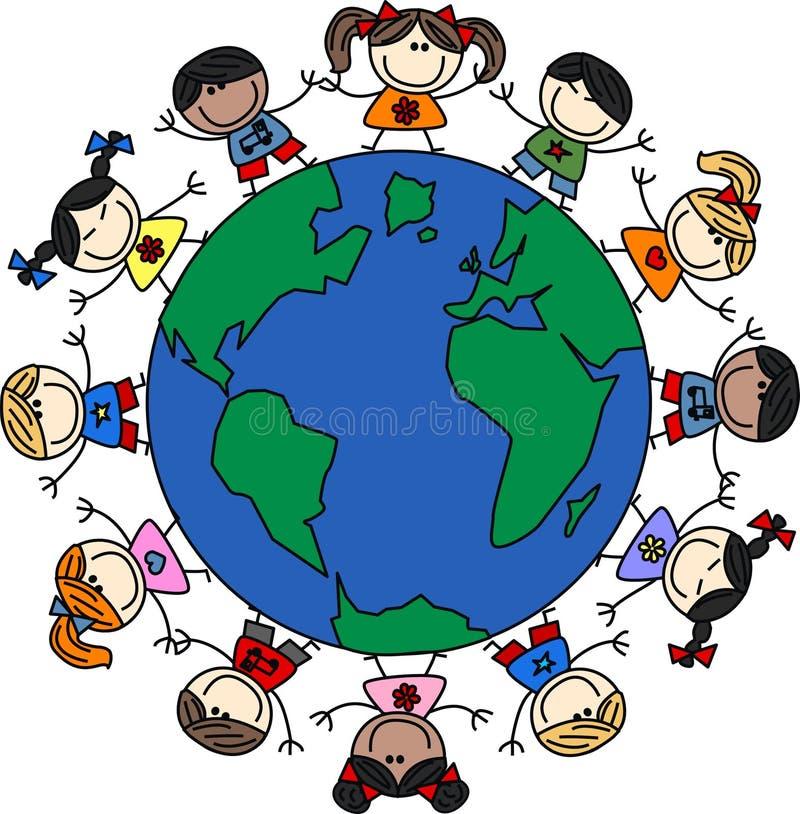 Mixed ethnic happy children vector illustration