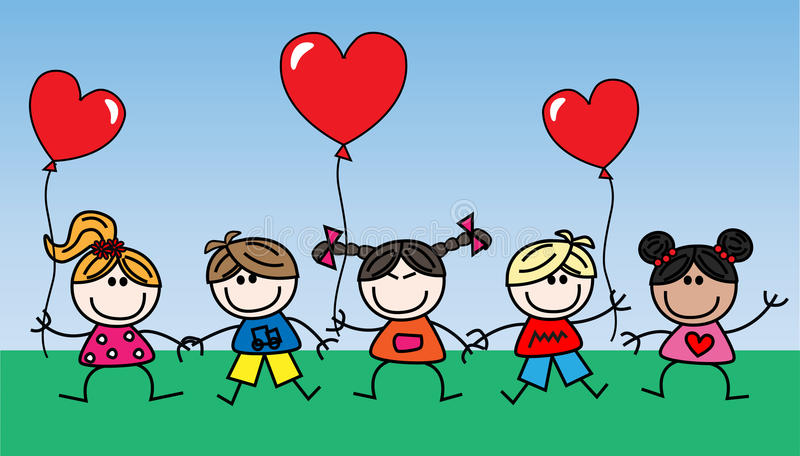 Mixed ethnic happy children with balloons royalty free illustration