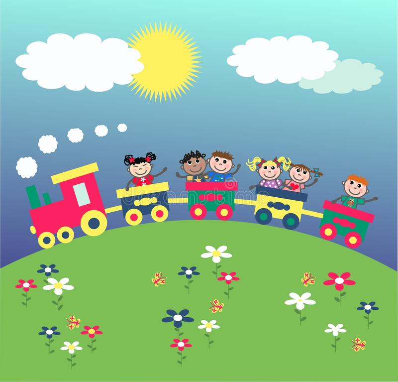 Mixed ethnic kids royalty free illustration