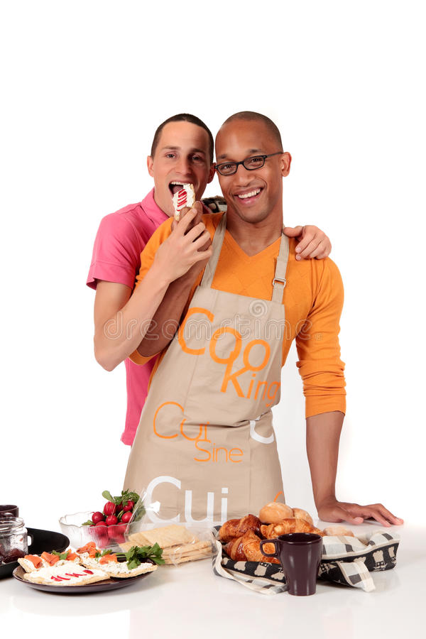 Download Mixed Ethnicity  Gay Couple Kitchen Stock Photo - Image: 16136108