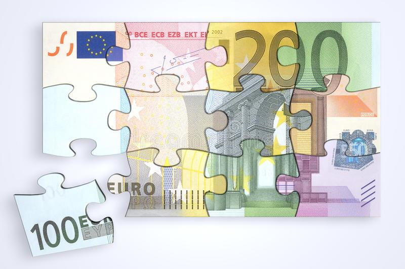 Download Mixed Euro Notes Puzzle With Separate Piece Stock Illustration - Image: 12927038