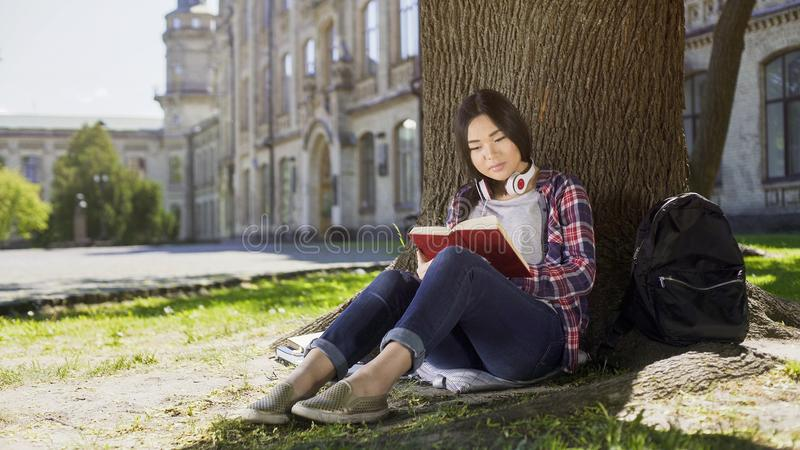 Mixed female sitting under tree, reading favorite book, gripping plot, engrossed royalty free stock images