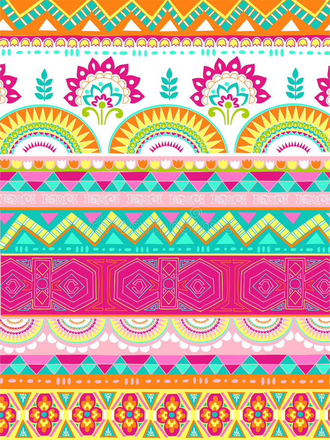Mixed Folkloric Design Vector Illustration Stock Image