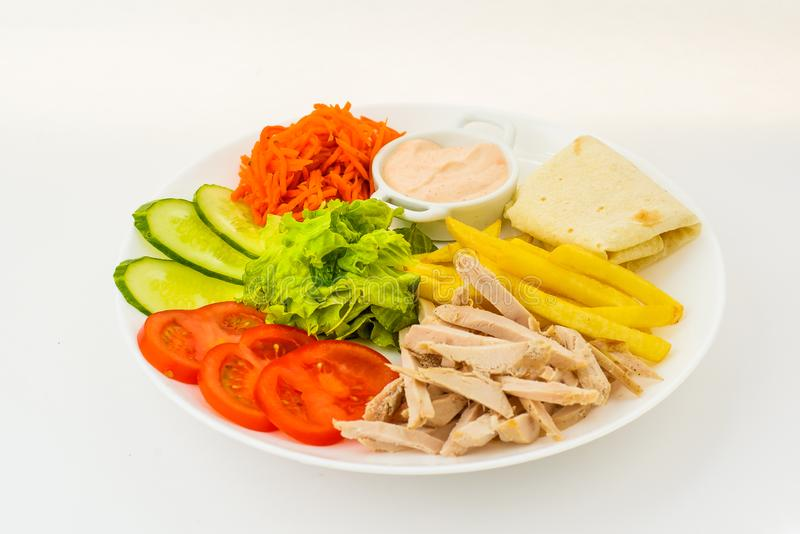 Mixed food in plate isolated on white stock photos