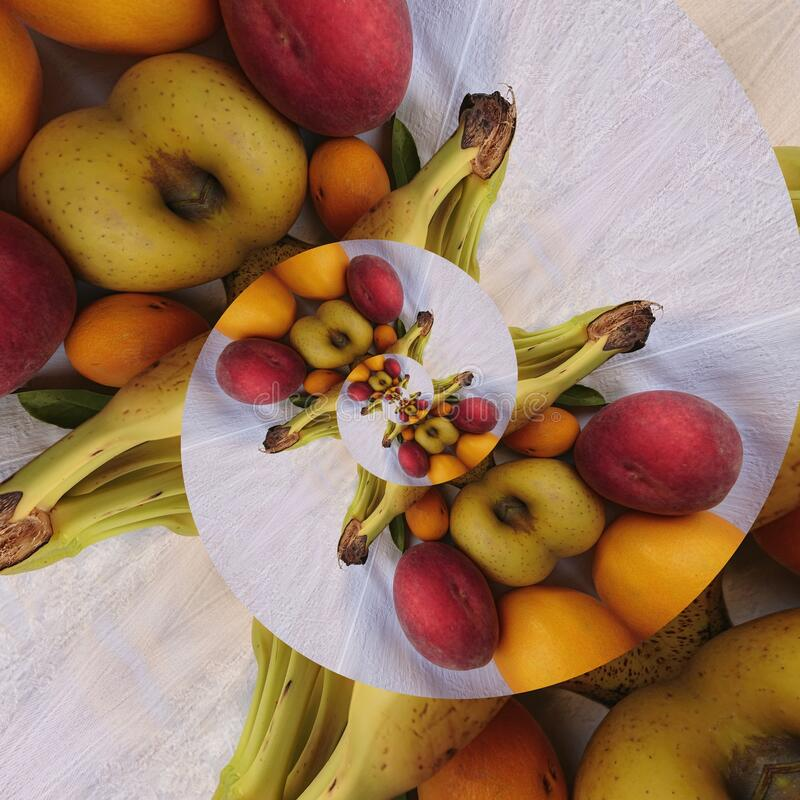 Mixed Fresh Fruits Abstract Art Backgrounds stock photo