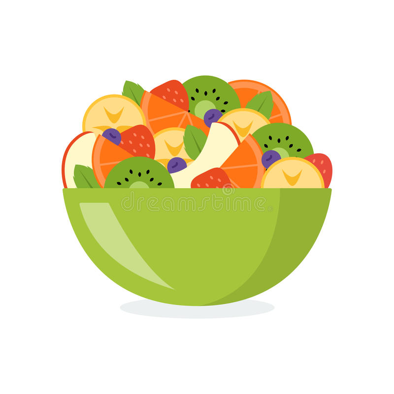 Mixed fruit salad. Fresh fruit salad in a green bowl isolated on white background. Healthy eating concept. Vector illustration in flat design stock illustration