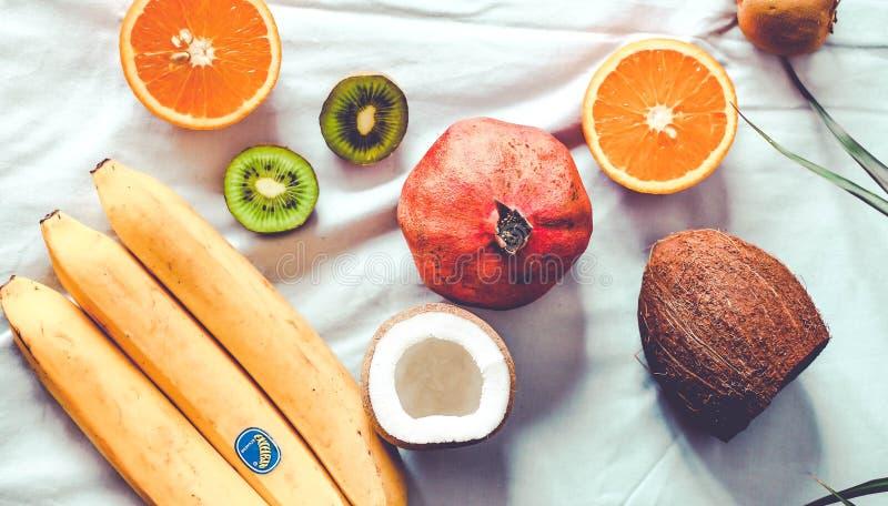 Mixed fruit typical of winter - pomegranates, coconut, kiwi, ora royalty free stock photos