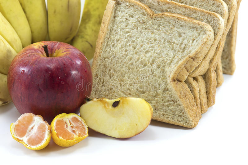 Download Mixed Fruits And Bread On White Background Stock Photo - Image: 35115188