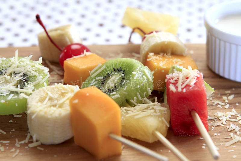 Mixed Fruits Skwer royalty free stock photo