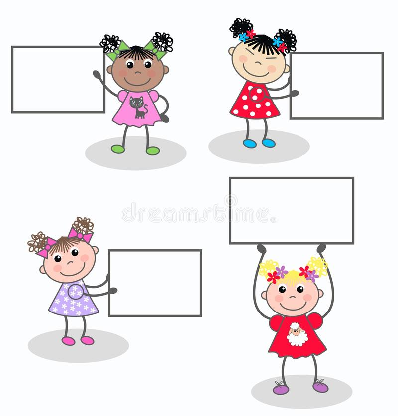 Mixed girls stock illustration