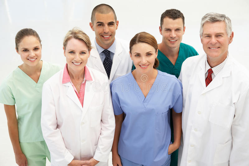 Mixed group of medical professionals stock photo