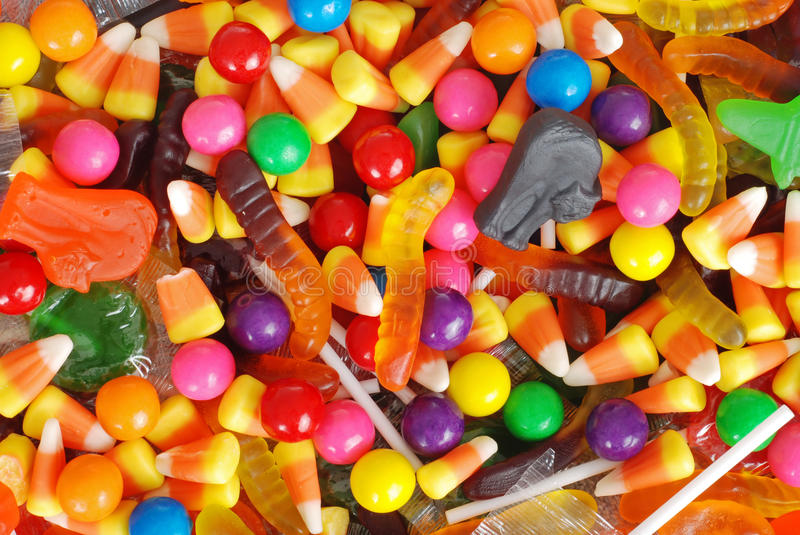 Mixed halloween candy background stock photo