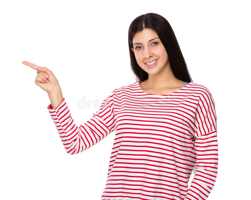 Mixed Indian woman with finger point up stock photo