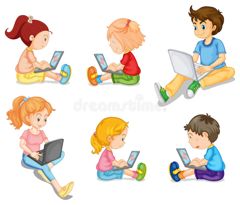 Mixed kids vector illustration
