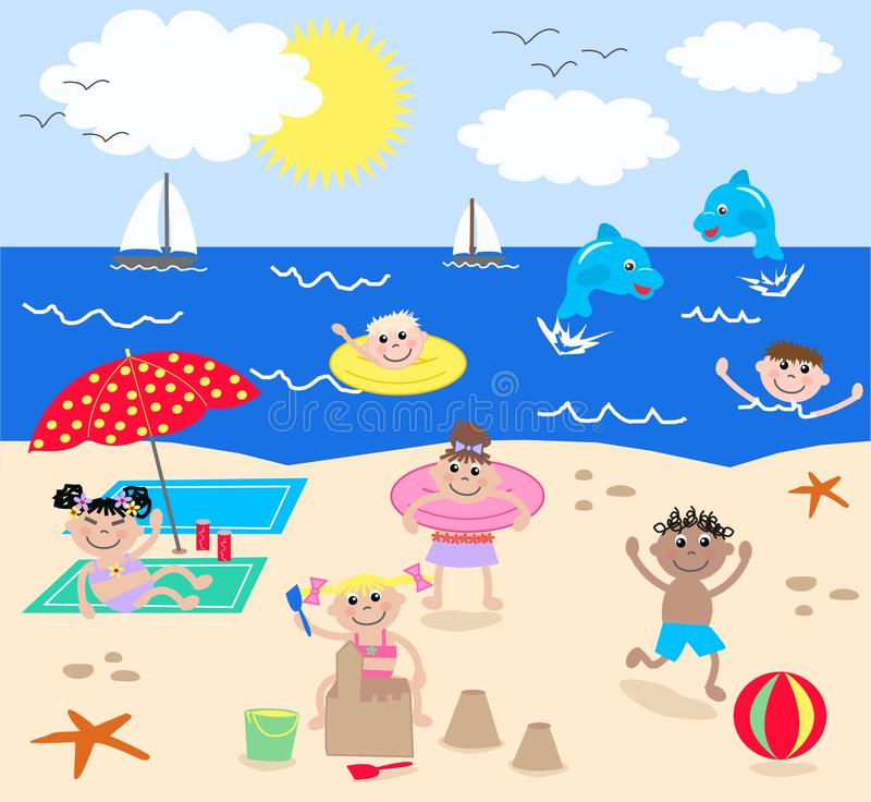 Mixed kids on the beach royalty free illustration