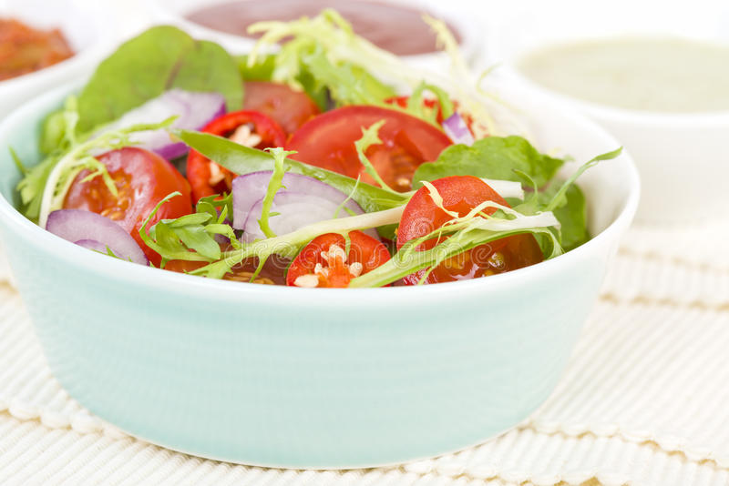 Mixed Leaf & Vegetable Summer Salad. Salad with tomatoes, rocket, lettuce, red onions and peppers and dressing on the side royalty free stock photography