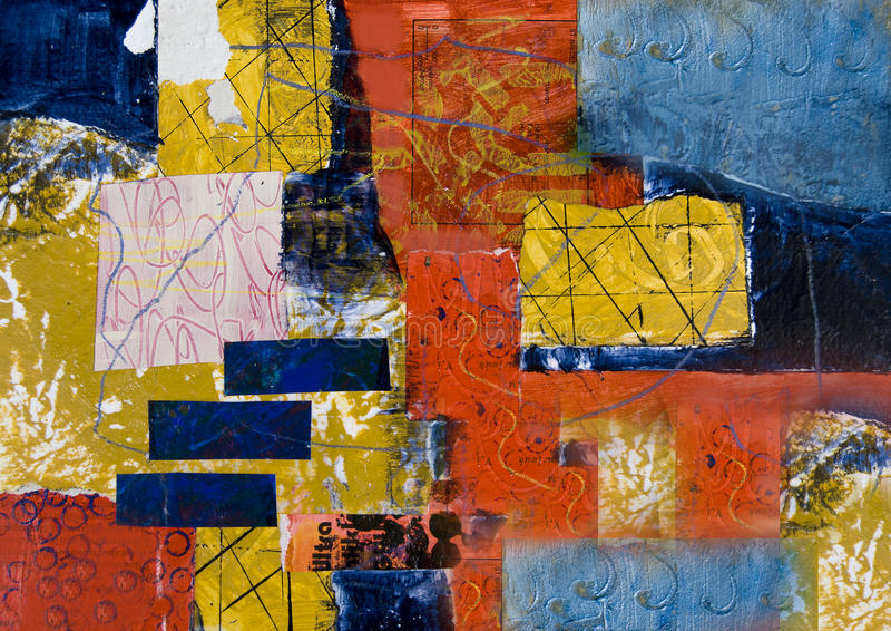 Mixed media abstract collage painting royalty free stock photography