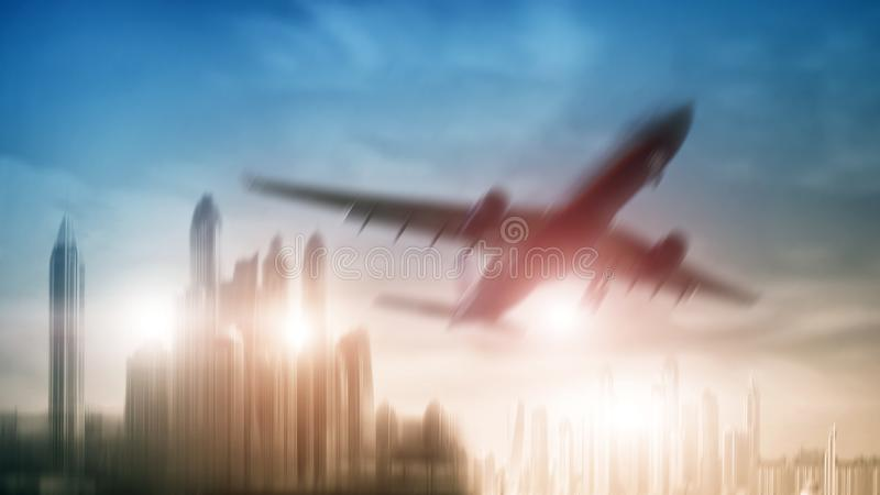 Mixed Media double exposure background. Airplane on city background. City royalty free stock photos