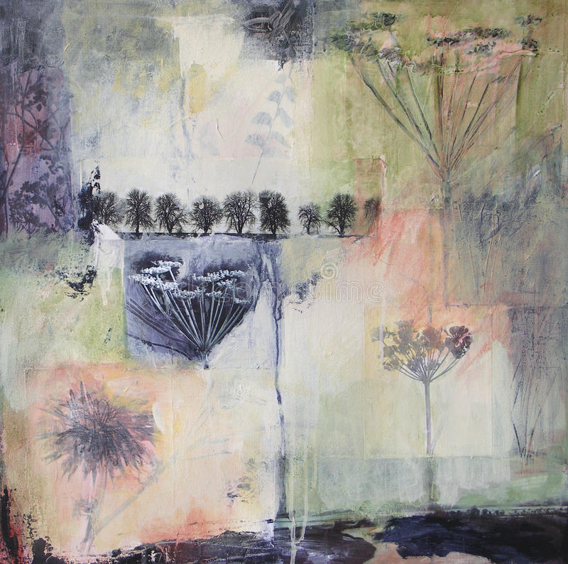 Mixed media painting on canvas with fennel and tre royalty free stock photo