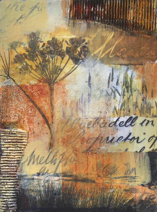 Mixed Media Painting With Nature Element Stock