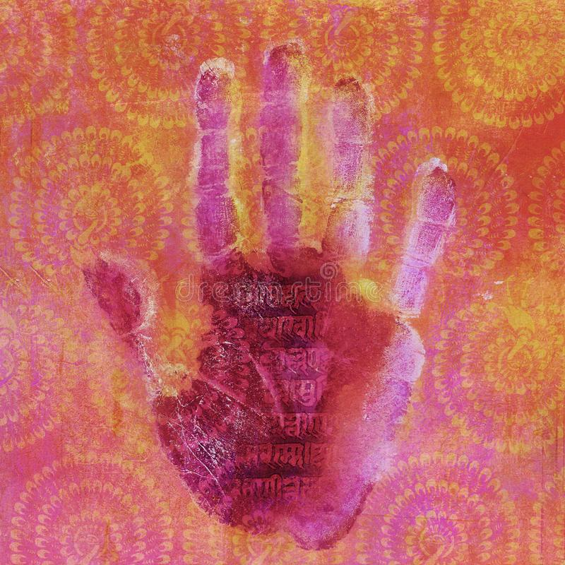 Sanskrit Yoga Hand royalty free illustration