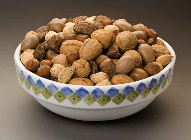 Mixed Nuts. In a Bowl stock images