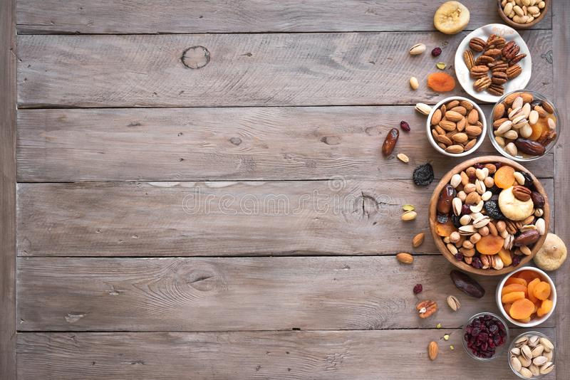 Mixed nuts and dried fruits royalty free stock photo