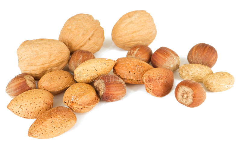 Mixed nuts isolated on white. royalty free stock image