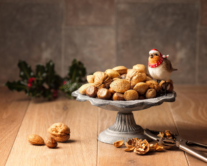 Mixed Nuts In Shells stock images