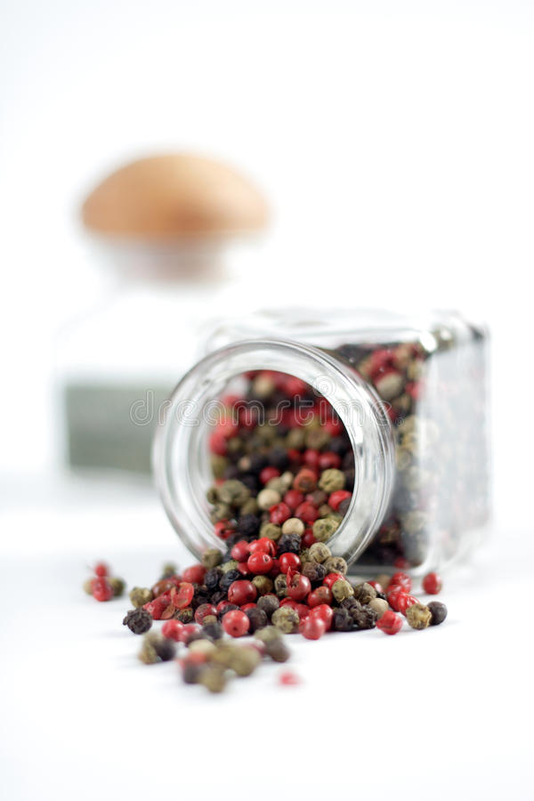 Mixed pepper seeds of various colours red black green royalty free stock photo
