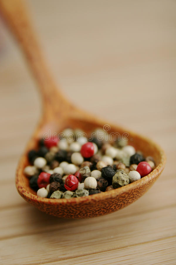 Download Mixed pepper in a spoon stock image. Image of grain, cuisine - 12452005