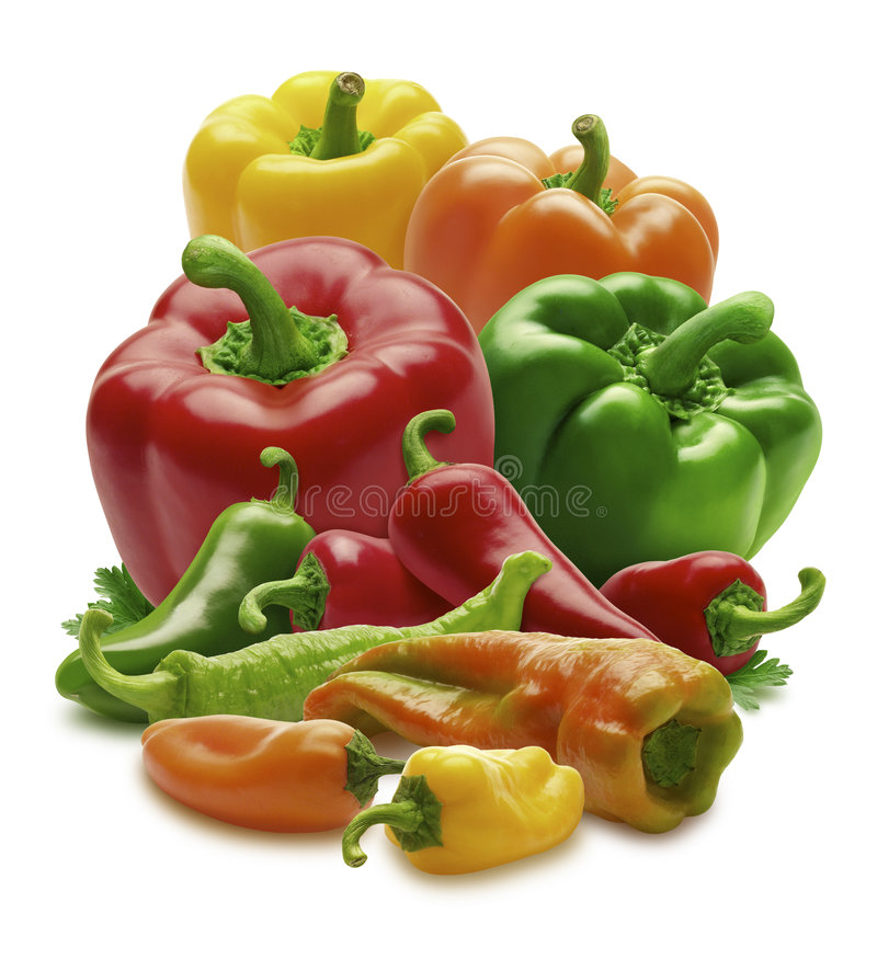Mixed Peppers. Isolated on a white background. Isolation is on a transparent layer in the PNG format royalty free stock photo