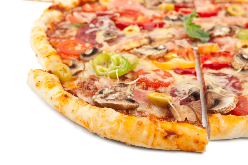 Mixed Pizza Slice Close Up. Mixed Pizza Slice Cut Out Close Up royalty free stock image