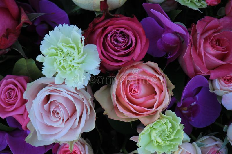 Mixed purple pink bouquet stock image