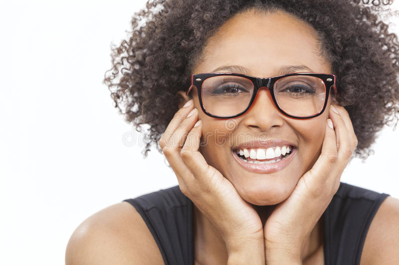 Mixed Race African American Girl Wearing Glasses stock image