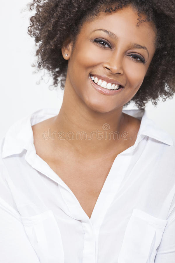 Mixed Race African American Woman Girl In White Shirt Stock Photo