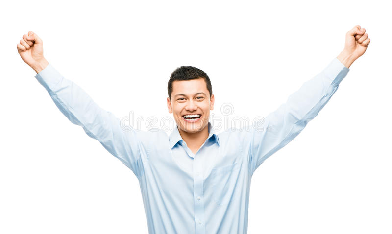 Mixed race businessman celebrating success isolated on white background stock photography