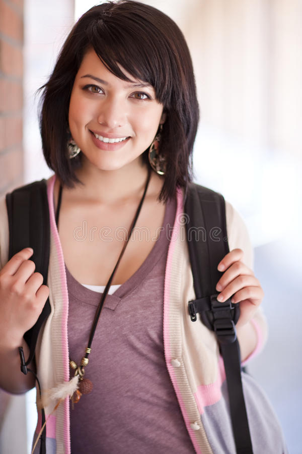 Mixed race college student stock photo