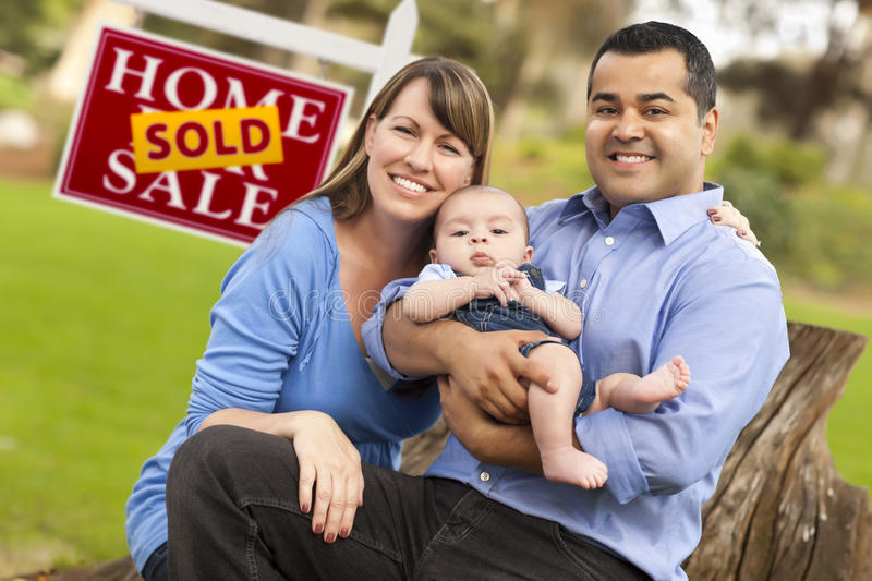Download Mixed Race Couple, Baby, Sold Real Estate Sign Royalty Free Stock Image - Image: 19580456