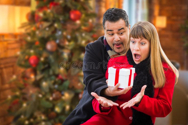 Ecstatic Mixed Race Couple Sharing Christmas In Front of Decorated Tree. stock image