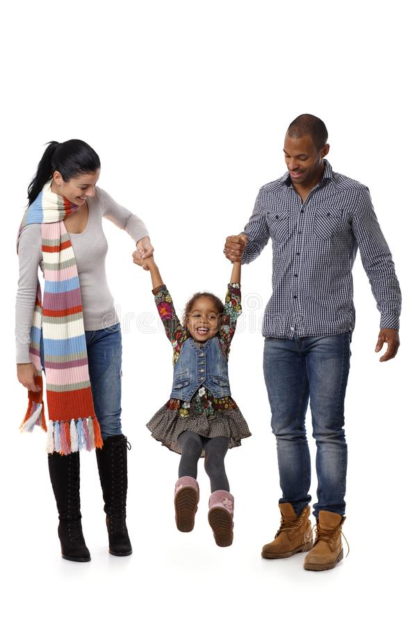 Download Mixed Race Family With Cute Little Girl Walking Royalty Free Stock Image - Image: 28890926