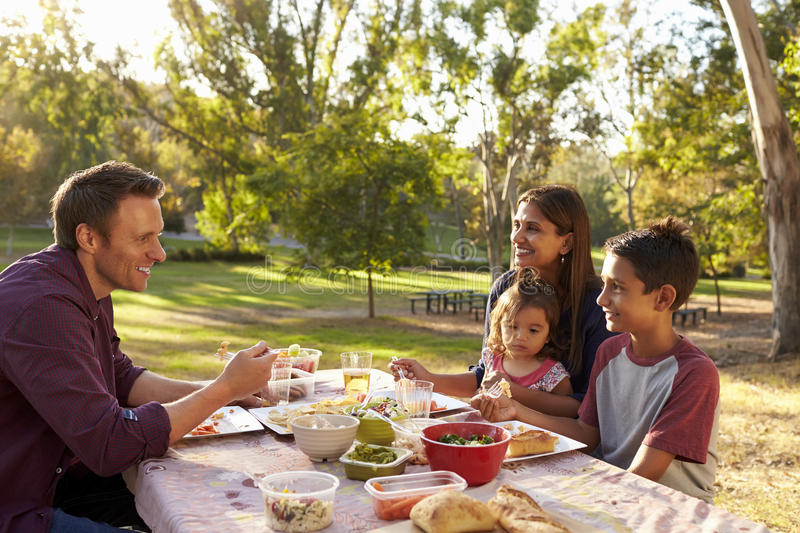 Mixed race family enjoying a picnic at a table in a park royalty free stock photos