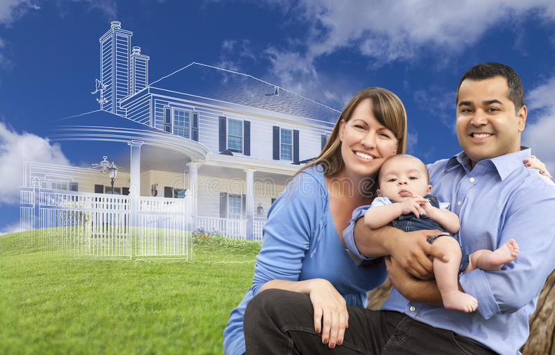Mixed Race Family with Ghosted House Drawing Behind. Mixed Race Family with Ghosted House Drawing, Partial Photo and Rolling Green Hills Behind royalty free stock image