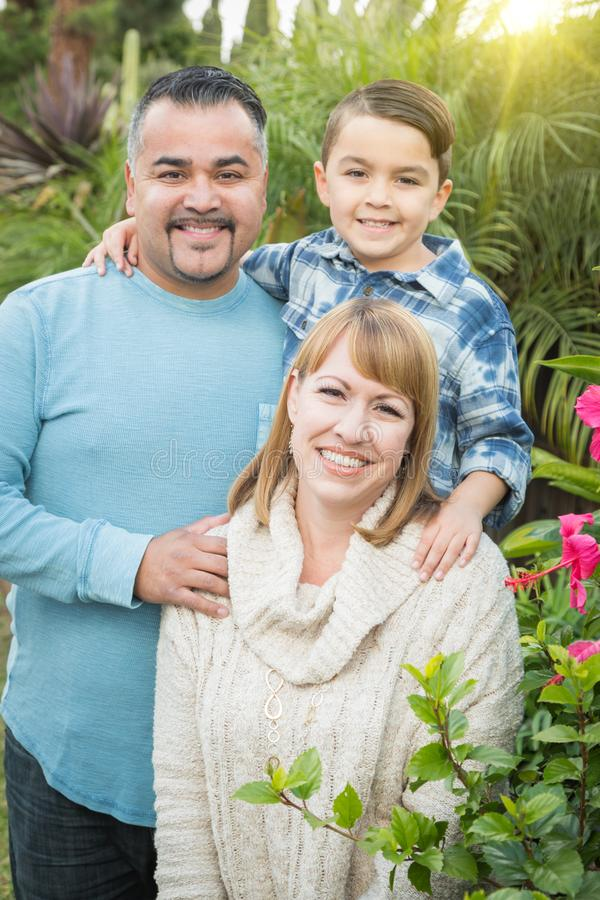 Mixed Race Family Portrait Outdoors. Happy Mixed Race Family Portrait Outdoors stock photos