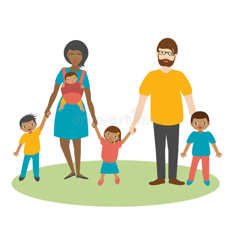 Mixed race family with three children. royalty free illustration