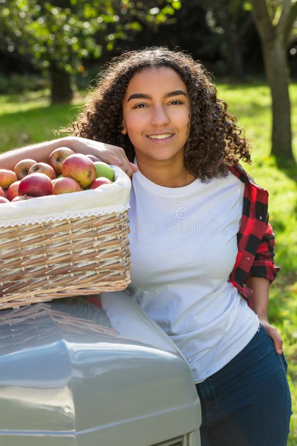 Mixed Race Female Teenager Leaning on Tractor Picking Apples. Beautiful, happy, mixed race biracial African American girl teenager female, young woman, smiling stock photo
