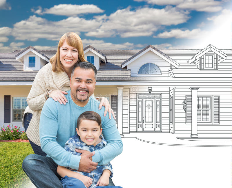 Mixed Race Hispanic and Caucasian Family In Front of Gradation o. F a House Drawing and Photograph royalty free stock image