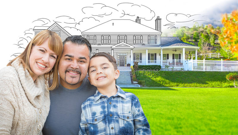 Mixed Race Hispanic and Caucasian Family In Front of Gradation o. F House Drawing and Photograph stock images