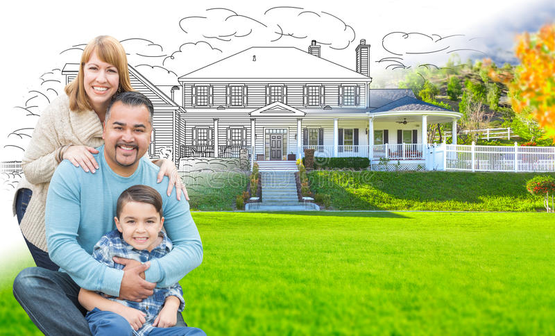 Mixed Race Hispanic and Caucasian Family In Front of Gradation o stock images